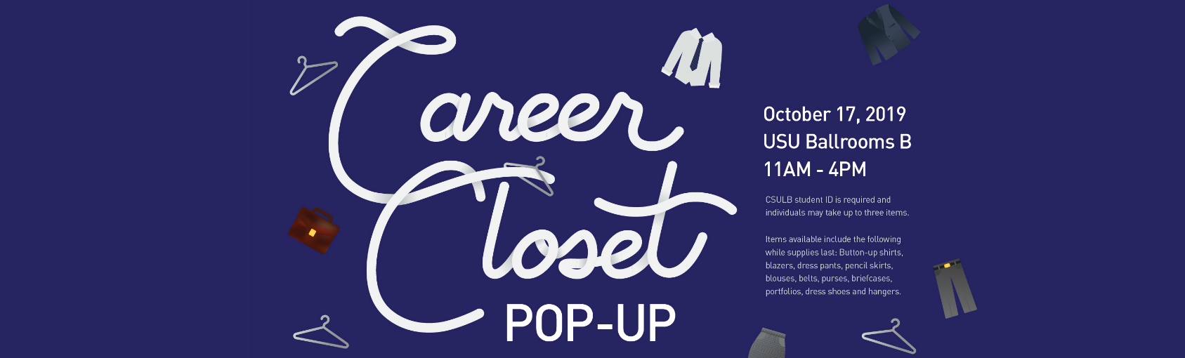 Career Closet Pop-Up on Oct 17 at USU Ballrooms B Banner