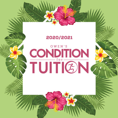light blue background with the owen's condition for tuition in pink lettering.