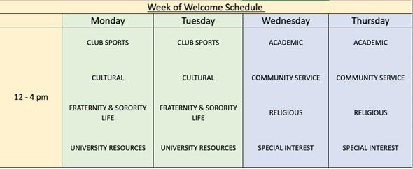 week of welcome schedule